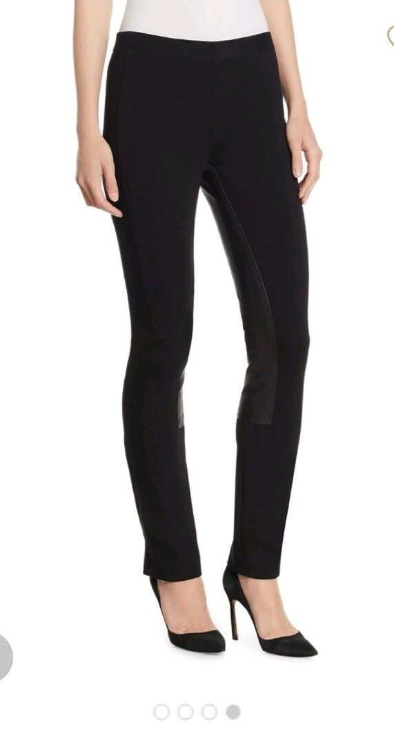 New THEORY  495 Fixture Ponte Leather Trim Zipper ankle Riding Pants Größe 2
