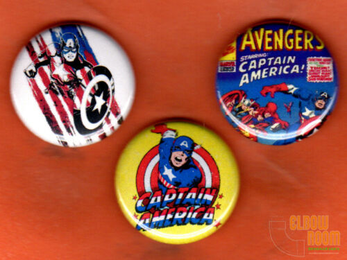 """Set of three 1/"""" Captain America pins buttons Kirby Avengers"""