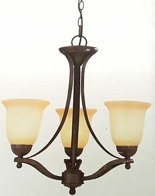 New Commercial Electric 842401 3-Light Rustic Iron Chandelier