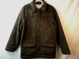 LL-Bean-Mens-Sherpa-Jacket-Brown-Faux-Fleece-Lining-Size-Medium