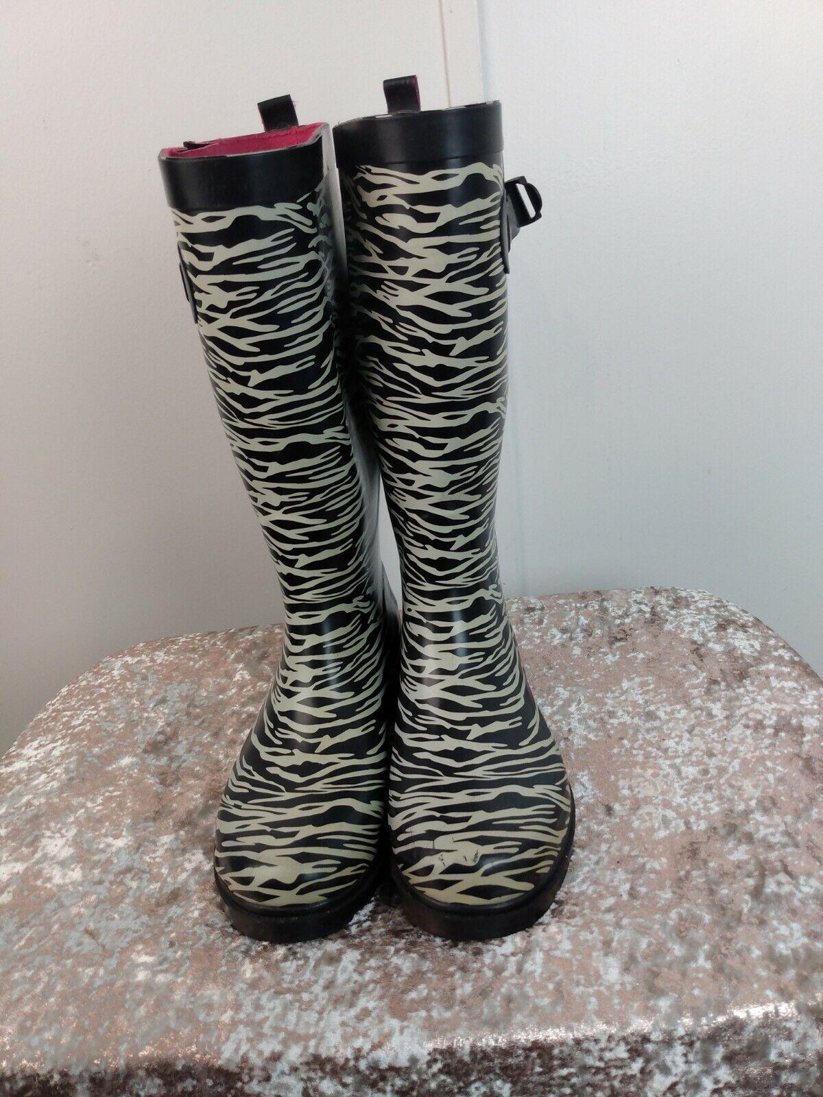 Capelli Zebra Print Rain Boots with Adjustable Ca… - image 3