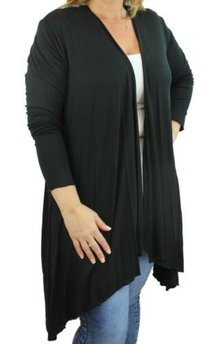 Women/'s Plus Size Ladies Long Length Sleeve Open Waterfall Drape Cardigan