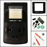Gbc Nintendo Game Boy Color Replacement Housing Shell Glass Screen Lens Black