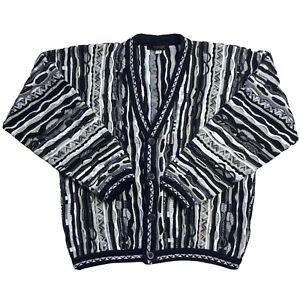 Vintage COOGI Style Cardigan Pullover L 90s 3d Strick Biggie Bill Cosby Hip Hop