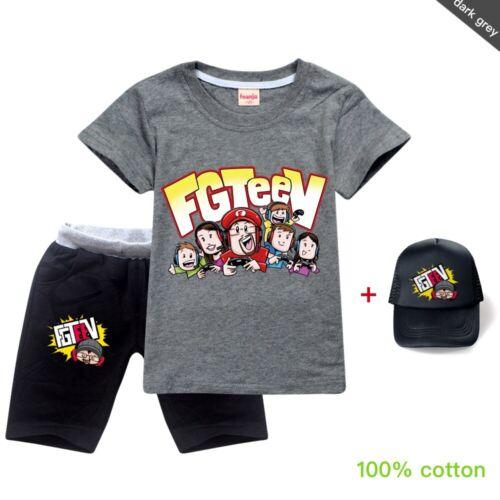 3Pcs Kids FGTTV Short Sleeve T-shirt+Shorts+Sun Cap 100/% Cotton Casual Sport Set