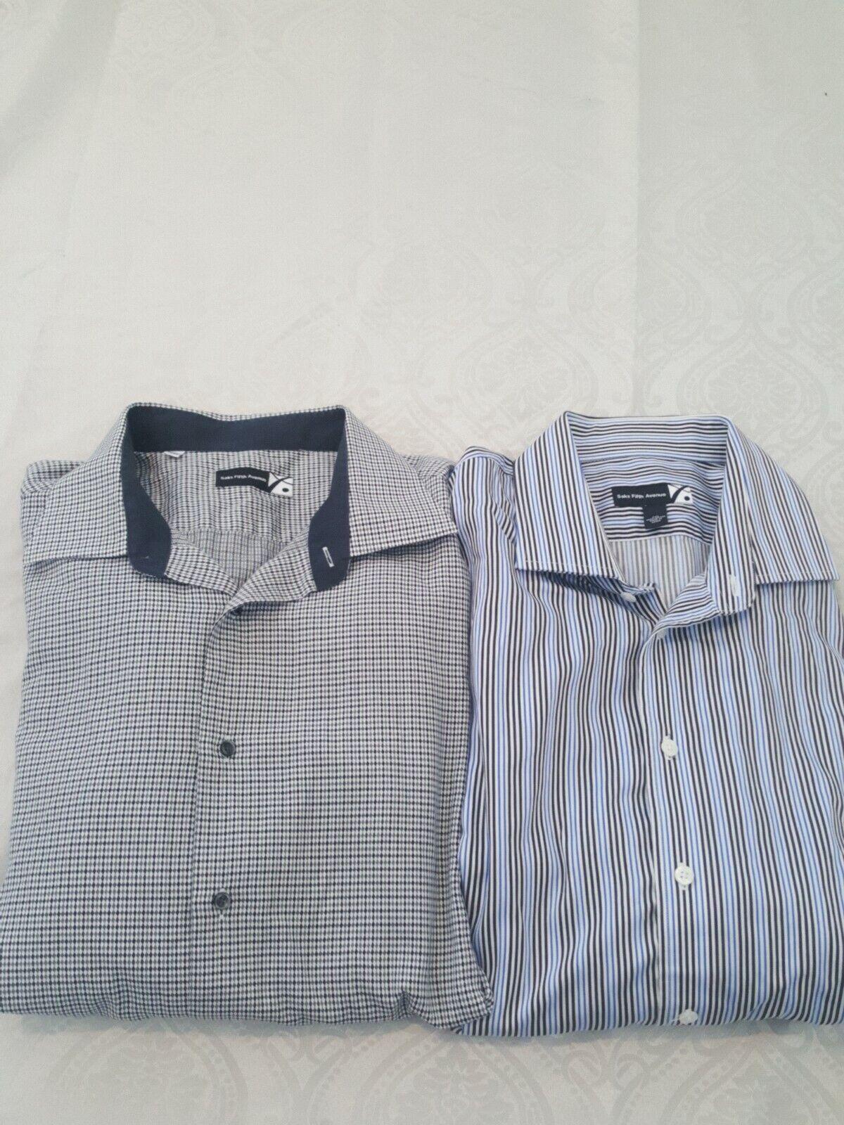 SET OF 2 Saks Fifth Avenue Men's Long Sleeve Button Up Dress Shirt XXL