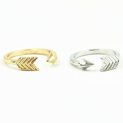 Hot Selling Women's Fashion Jewelry Bright Silver&Gold Plated Simple Arrow Rings