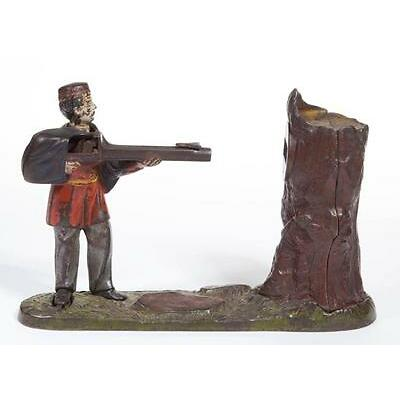1011. CREEDMOOR BANK CAST-IRON MECHANICAL BANK Lot 1011