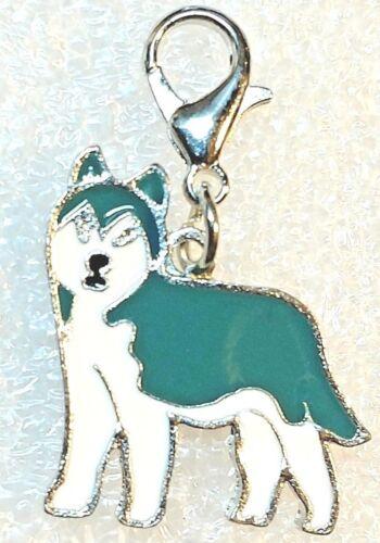 Husky Dog Pup Teal Blue Bag Purse Charm Dangle Zipper Pull Jewelry