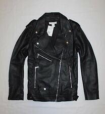 H&M Black Leather Look Biker Jacket sz 12 goth punk rock festival sold out BNWT