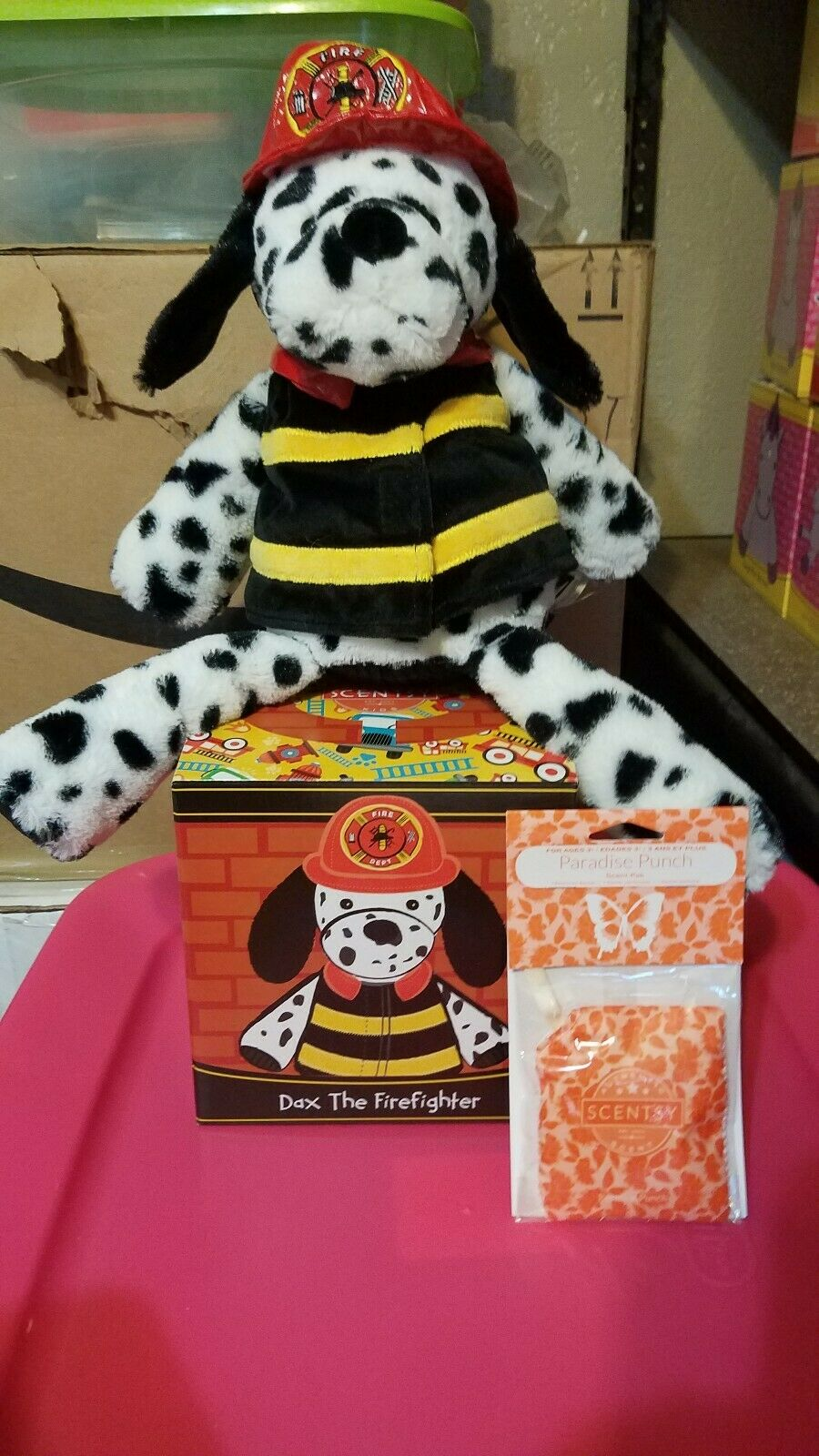 Scentsy Buddy NIB Dax the Firefighter with Scent Pak- Ships Free- SOLD OUT