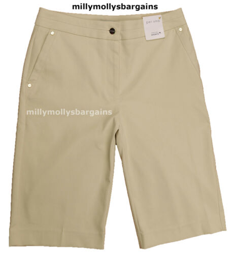 New Womens Marks /& Spencer Per Una Roma Rise Beige Shorts Size 10