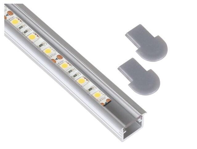 Alu Einbau Profil - 1m eckig klar SET + Abdeckung + Endkappe für LED Stripe Band