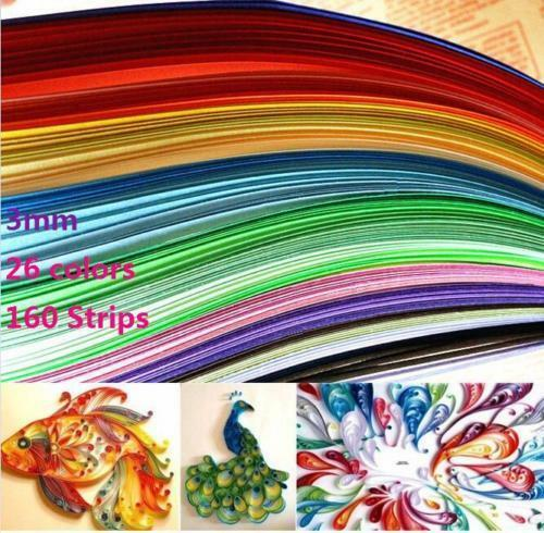DZ1207 Quilling Paper 3mm*390mm Mixed Origami Paper craft 160 Strips 26 Colors \