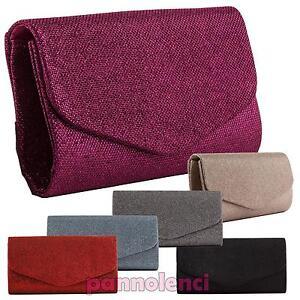 Borsa-donna-Pochette-handbag-lurex-baguette-clutch-tracolla-nuova-YL-1699