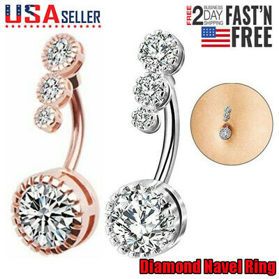 2018 Surgical Steel Navel Rings Crystal Belly Button Ring Bar Piercing Jewelry