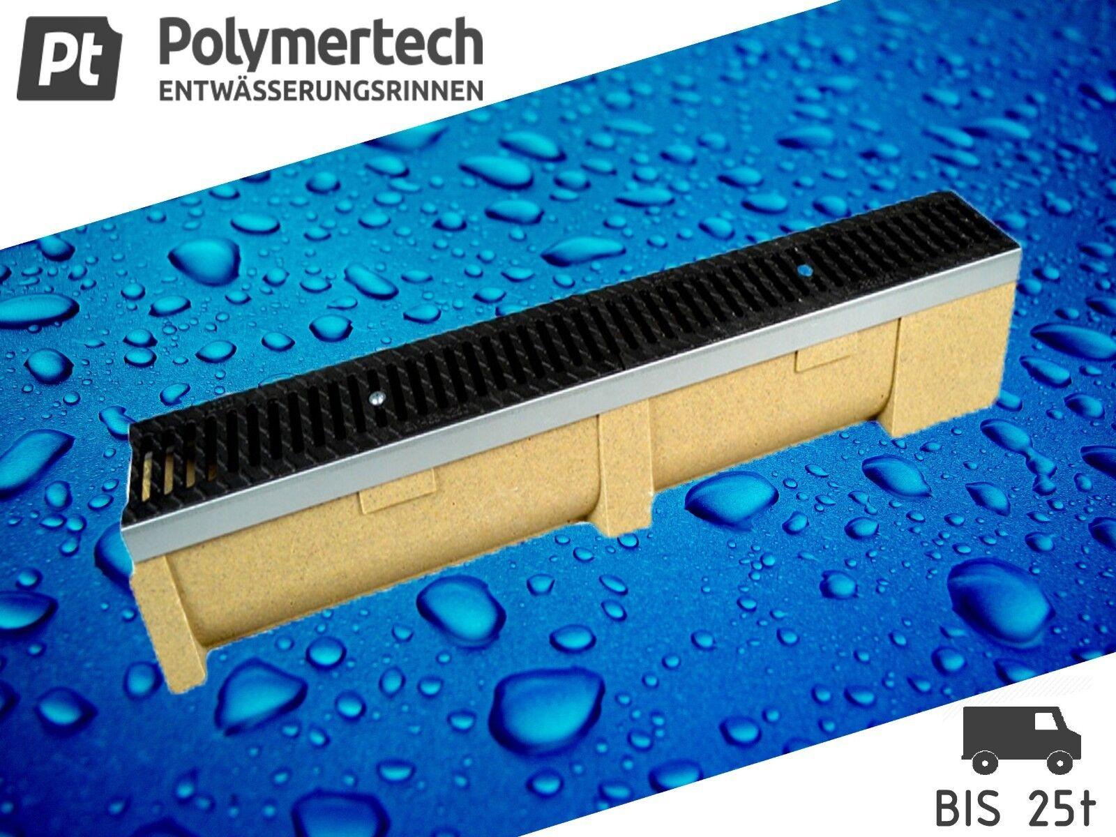 Polymerbeton Entwässerungsrinne mit Stahlzarge inkl.Gussrost kl.C250 bis 25 t