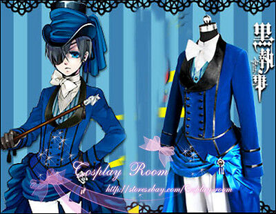 Black Butler Cosplay Ciel Phantomhive Blue Chevalier  - Custom made in any size