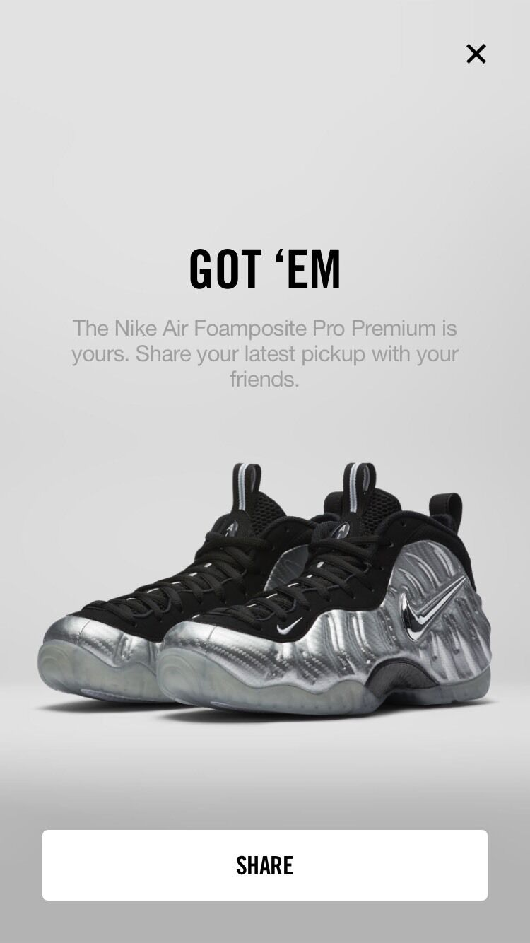 Nike Air Foamposite Pro Silver Age 2017 Size 10.5