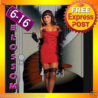 F88 1920s Charleston Red Flapper Fancy Dress Costume + Feather Boa, Headband