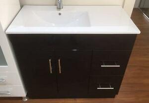 Image Is Loading DESIGNER Black 900mm CERAMIC BATHROOM VANITY With OFFSET