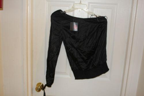 Size XS TP Gorgeous Guess one shoulder open arm shirt Cut//Coupe black