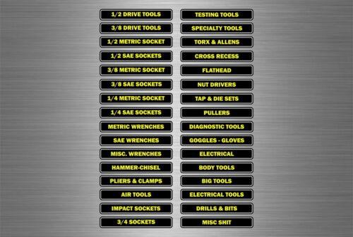 Set 32 sticker tool box labels toolbox mechanics garage decals box contents
