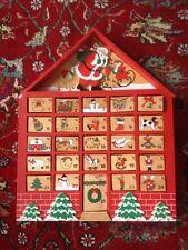 Vintage Wooden Wood Advent Calendar 25 Ornaments Primitive Christmas Folk Art