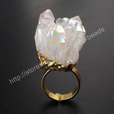 5pcs Rectangle Natural Agate Titanium AB Druzy Bar Necklace Gold Plated TG0500-N