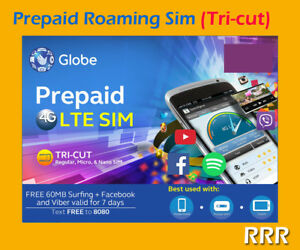 Details about GLOBE Philippines Prepaid International ROAMING Tri-Cut Sim  Card (PRE-ACTIVATED)