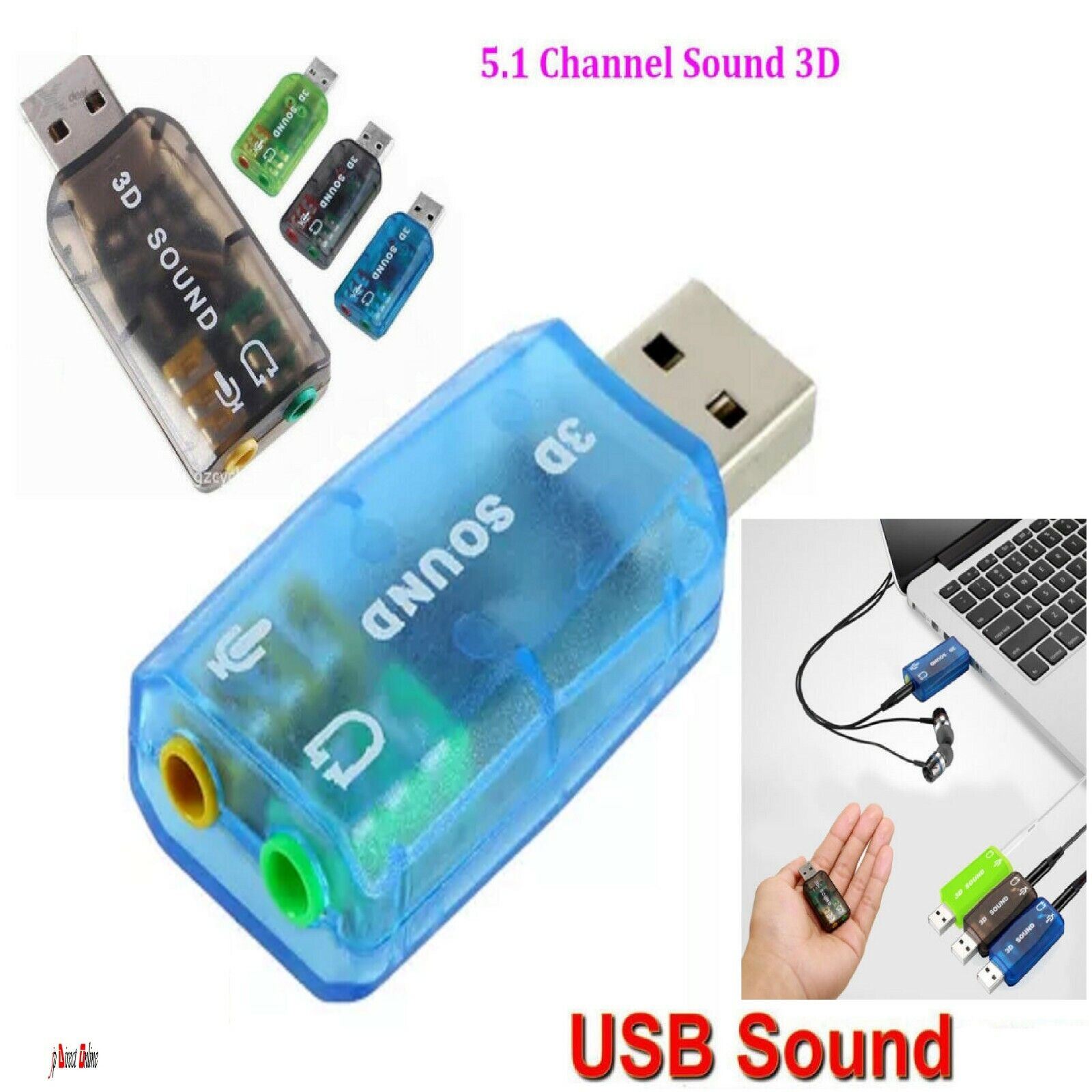 USB 5.1 to 3.5mm mic headphone Jack Headset 3D Sound Card Audio Adapter New