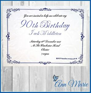 Image Is Loading 10 X 90th PERSONALISED BIRTHDAY PARTY INVITATIONS