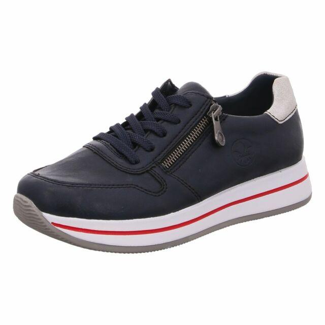 RIEKER N5354 14 Damen Sneaker Klettverschluß HalbSchuhe Blau