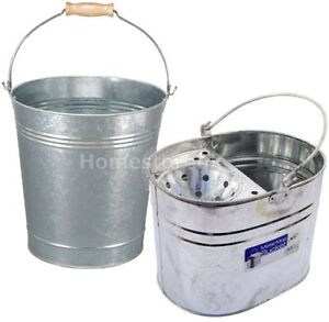 mop pail water bucket metal galvanised large plant pot cleaning