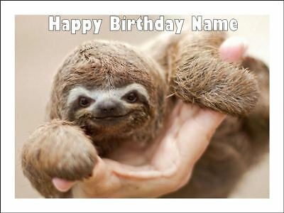SLOTH 19cm Edible Icing Image Birthday Party Cake Topper Decoration #1