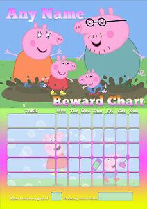 Peppa-Pig-PERSONALISED-Childrens-Kids-A4-Size-BEHAVIOUR-REWARD-Chart-Sheet