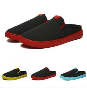 Mens-Canvas-Half-Slippers-Slip-On-Loafers-Outdoors-Casual-Flats-Shoes-New-Summer