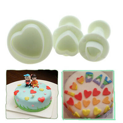 Hot 3Pcs Heart Mold Cutter Fondant Cake Decorating Tools Cookie Sugar craft CN