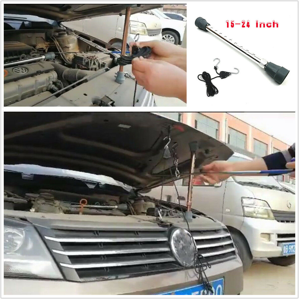 Car 1.5m Rope Ratchets Nylon Rope Hood Paintless Dent Repair Tool with Hooks