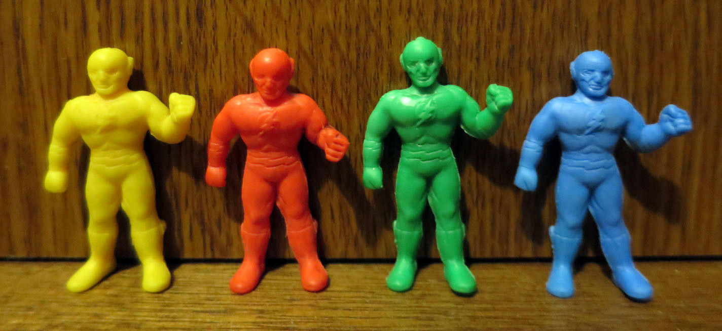 Set of 4 Vintage FLASH Keshi Gomu Rubber Figures Meiji 1979 Japan DC Comics