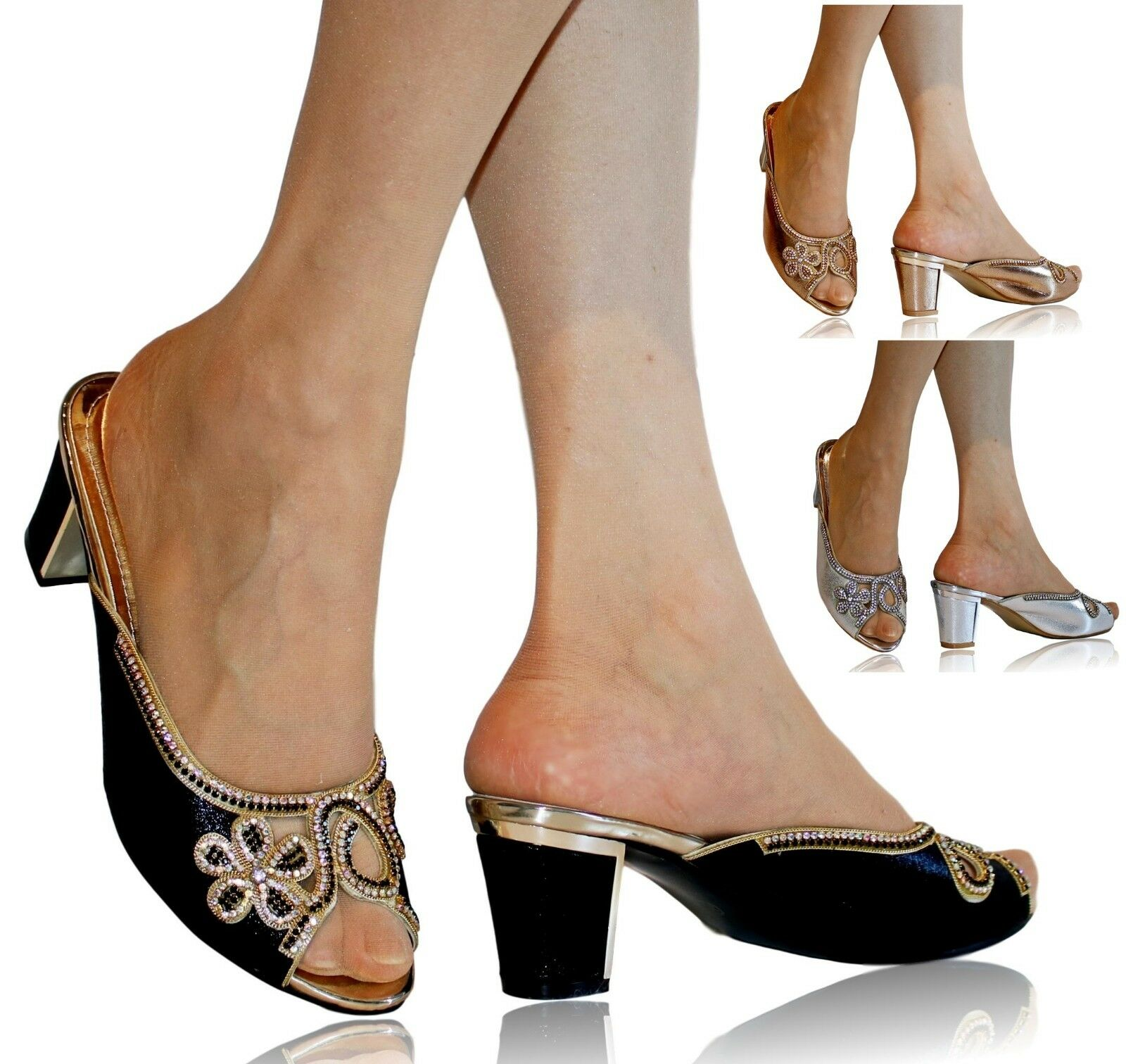 New Womens Diamante Block Low Mid Heel Bridal Party Slip On Shoes Mules Sandals