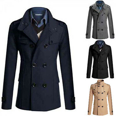 Brand New Men Slim Fit Long Winter Warm Double Breasted Peacoat Coat Jacket