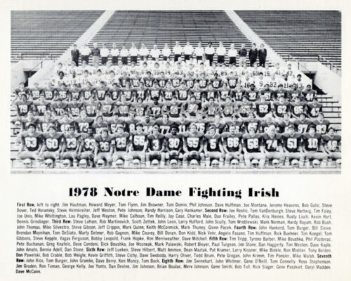 1978 NOTRE DAME FIGHTING IRISH FOOTBALL 8X10 TEAM PHOTO MONTANA