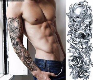 Uk Full Arm Black Skull Kraken Pirate Gun Devil Temporary Tattoo