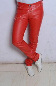Skinny Leren Drainpipe G jeans Pant Goth Skintight Punk Rock Fetish Red QdeExCBroW