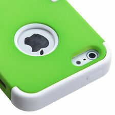 For Apple iPhone 5 Rubber IMPACT TUFF HYBRID Case Skin Phone Cover Green White