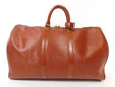 Vintage Louis Vuitton Epi Leather Keepall 45 Duffle Bag Suitcase Purse Brown 256