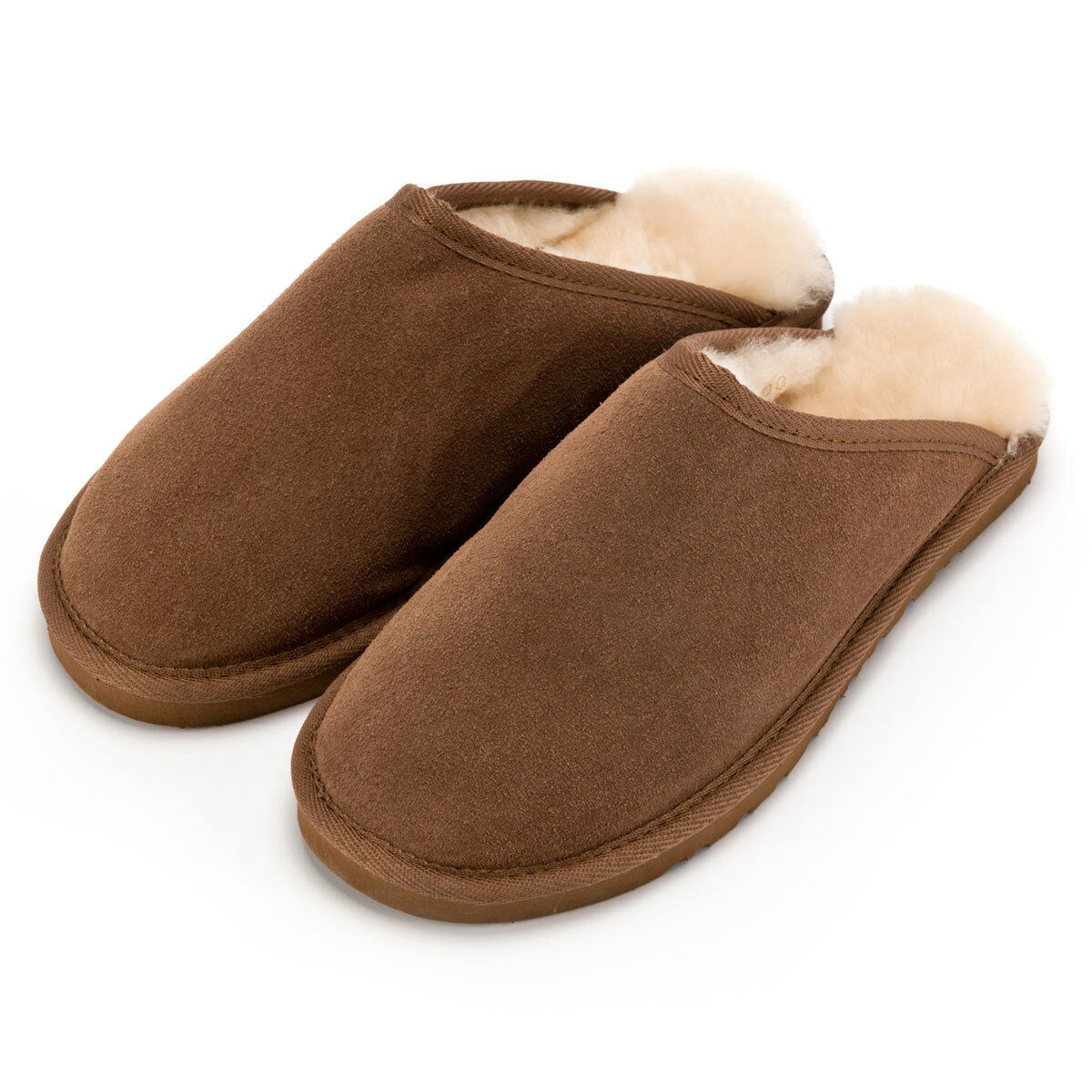 Deluxe Mens Hard Sole Sheepskin Slipper Mule - Chestnut - Free Returns
