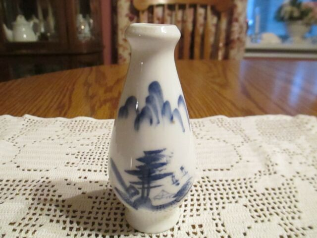 Small Asian Porcelain White With Blue Scenery Vase Made In China