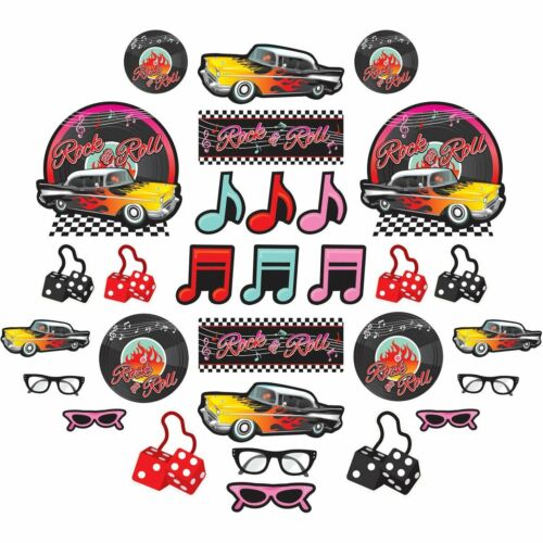 50/'s Mega Value Pack Party Wall Cutout Kit 30 Pieces Rock /& Roll